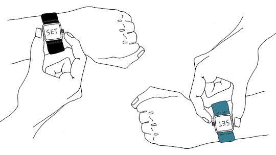 Dibujo de dos personas sincronizando relojes de DoLeague